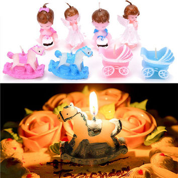 Cute Baby Carriage Candle Favors Christening Birthday Cake Decoration Gift