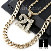 """ICED OUT 21 SAVAGE NUMBER PENDANT DIAMOND CUT 30"""" CUBAN CHAIN NECKLACE SET G25"""