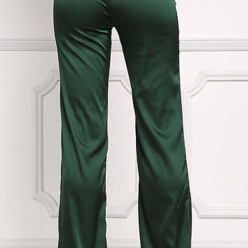 Emerald Green Satin Pants 🍀