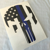 Back the Blue Punisher Skull Vinyl Decal | Yeti Punisher Decal | Punisher Cop Decal | All Lives Matter | Blue Lives Matter | 380