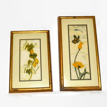 Batik Art Fabric Painting - Signed Ruth Panigot - 1970's Renowned Artist -  Butterfly Yellow Daisy Flowers - 2 RARE - Framed & Matted