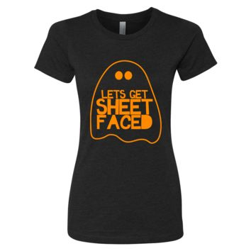 Ladies Lets Get Sheet Faced Slim Halloween Shirt