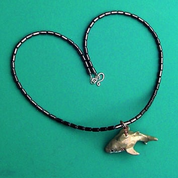 Shark Totem NecklaceHematite Beaded Necklace by BrandonArtists