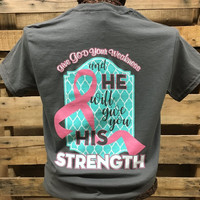 Southern Chics Breast Cancer Awareness Pink Ribbon Give God Your Weakness Christian Girlie Bright T Shirt