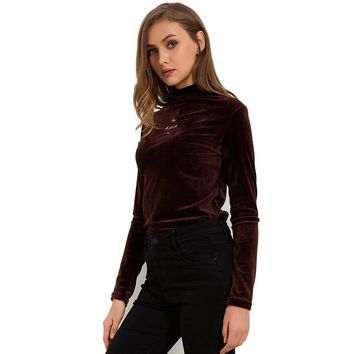 Turtleneck Velvet Long Sleeve Casual Slim Shirt