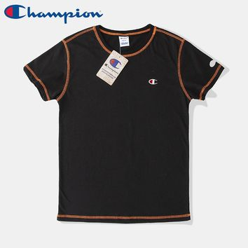 Champion new tide brand men and women models express embroidery small logo round neck short-sleeved T-shirt Black