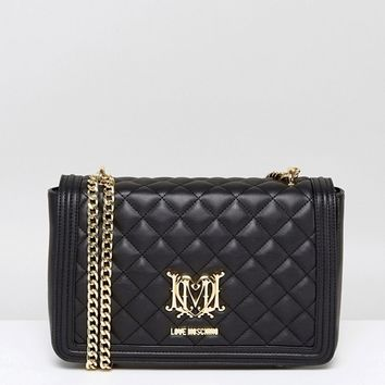 Love Moschino Quilted Shoulder Bag with Chain at asos.com