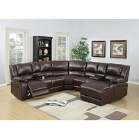 Bonded Leather 5 Pc Sectional Sofa with Chaise & Recliners, Brown