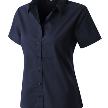 LE3NO PREMIUM Womens Easy Care Short Sleeve Poplin Shirt