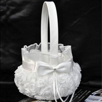 Wedding Ceremony Party Love Case Satin Bowknot & Rose Flower Girl Basket [7983316103]