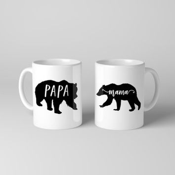 Papa Bear Mug Set - Mama Bear Mug Set - Couples Mug Set - Mama Bear Coffee Mug - Papa Bear Coffee Mug - Papa Mama Bear Cups - Mama Bear Gift