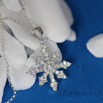Sterling Silver Snowflake Necklace . Solid Sterling silver Snowflake and Sparkle Cubic Zirconia .  Fancy Snowflake . By Mony-Art