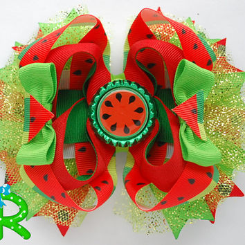Watermelon hair bow , Watermelon layered bow , ott bow  , Summer Hair Bow