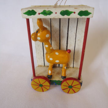 Reindeer In a Wagon Old Fashioned Christmas Decoration Vintage Wood  Ornament 1970 Taiwan