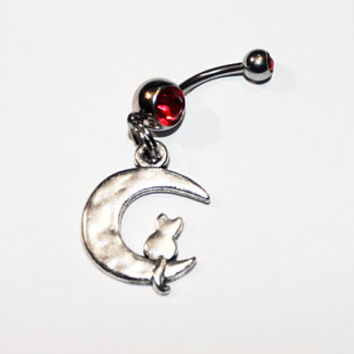 Moon Cat Belly Button Ring, Celestial, Cats, Navel Ring, Crescent Moon, Witchcraft, Body Jewelry, Belly Piercing