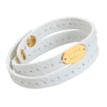 Fendi Selleria Double Stranded Women's White Leather Bracelet