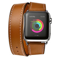 Elobeth for Apple Watch Band,iWatch band Genuine Leather Double Tour Watch Strap Wrist Band Replacement Clasp for Apple Watch & Sport & Edition(38mm Browm)