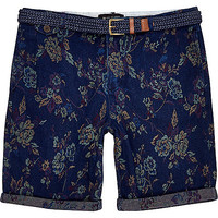 River Island MensNavy floral jacquard rolled up shorts
