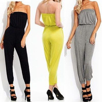 2016 Autumn Sexy Womens Sleeveless Cross Backless Pockets Jumpsuit Bodysuit Playsuit Long Trousers