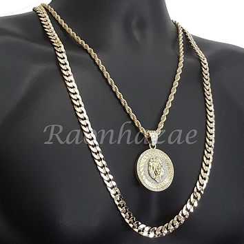 "LION ROUND ROPE CHAIN DIAMOND CUT 30"" CUBAN CHAIN NECKLACE SET G26"