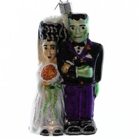 Old World Christmas Frankenstein & Bride Halloween Glass Ornament