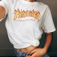 Thrasher Fashion Personality Letter Flame Print T-Shirt Short Sleeve Top T-Shirt White(Yellow Flame)