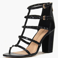 Rivets PU Leather Chunky Heel Gladiator Sandals