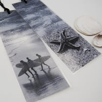 Bookmarks - Beach theme with starfish and surfers in black and white x 2