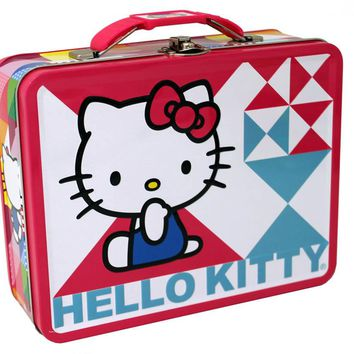 Hello Kitty Blue & Pink Embossed Carry All Lunch Box
