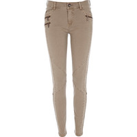 River Island Womens Beige washed skinny combat pants