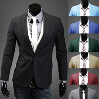 Simple Men Fashion One Button Slim Fit Blazer