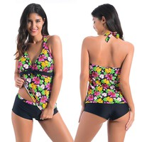 Chicloth Flowers Printed 2pcs Tankini Swimsuit
