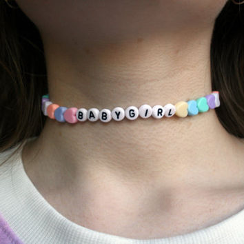 BABYGIRL Choker Necklace // Pastel Kawaii Cyber Ghetto Cute