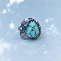 Vintage Mint Green Tortoise Turquoise Native American Handmade Ring, Sterling Silver Tortiouse Turquoise Ring