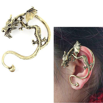 Vintga Gothic Punk Temptation Metal Wrap Dragon Bite Ear Cuff Earrings
