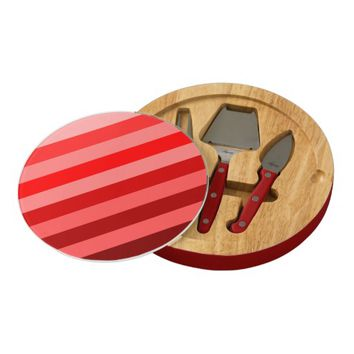 Monochrome Shades of Red Color Block Stripes Round Cheeseboard