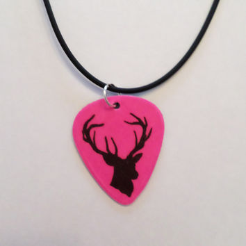 Hot Pink Buck Deer Head Silhouette guitar pick on black necklace country jewelry