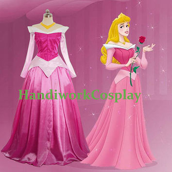 Disney Dress Sleeping Beauty Princess Aurora Costume, Princess Aurora Cosplay Outfit Custom Any Size For adult,Kids And Plus Size