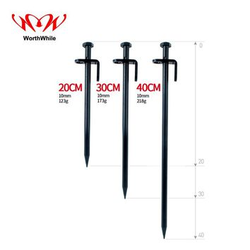 WorthWhile 1 Piece Steel Forging Tent Nails Longer Stronger Stakes Pegs Outdoor Camping Climbing Accessories for Snowfield Beach