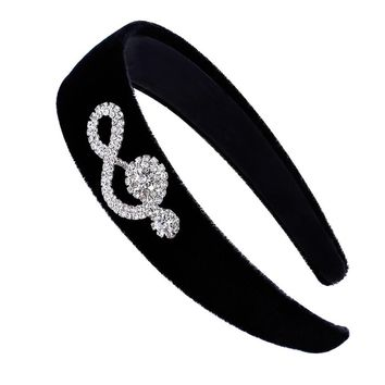 Winter Warm Headband Hair Accessories Musical Note Bow Wide Head Band Girls Headdress Hoop Black Hairbands for Women HB049