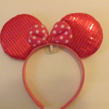 MINNIE MOUSE EARS Headband Neon Pink bling Sparkle sequin with pink/white polka dot Bow Mickey