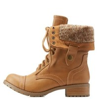 Natural Sweater-Lined Foldover Combat Boots by Charlotte Russe