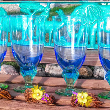 "Italy Bormioli Rocco ""Bahia"" Made in Italy Blue Green Glass Goblet"