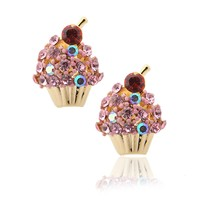 Crystal Cherry on the Top Cupcake Earrings