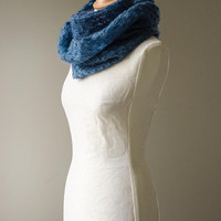 Knitted lace cowl, silk and mohair lace cowl, knitted snood, mohair lace wrap in sapphire blue 'Snowflakes'