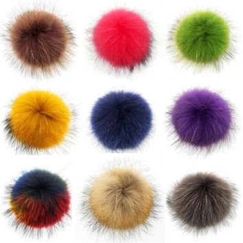 Colorful 15cm Real Fur Pom pom for Knitted Skullies Beanies Caps Hats Bags Genuine Fur Ball For Key Chain Garments Accessory