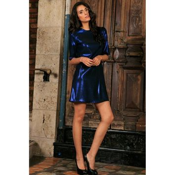 Navy Blue Metallic 3/4 Sleeve Evening Party Shift Mini Dress - Women