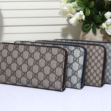 """Gucci"" Unisex Purse Fashion Classic Retro Double GG Print Multifunction Zip Long Section Wallet Handbag"