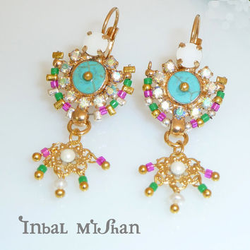 MAHARAJA  chandelier earrings, colorful earrings, turqouise gemstones, crystal swarovski, 24k gold plate, statement jewelry.
