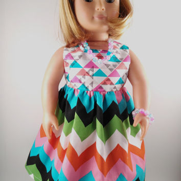 "18 Inch Girl Doll Dress, Triangle Geometric Chevron Doll Dress & Jewelry, Made To Fit 18"" Dolls Like American Girl, My Life, And Springfield"